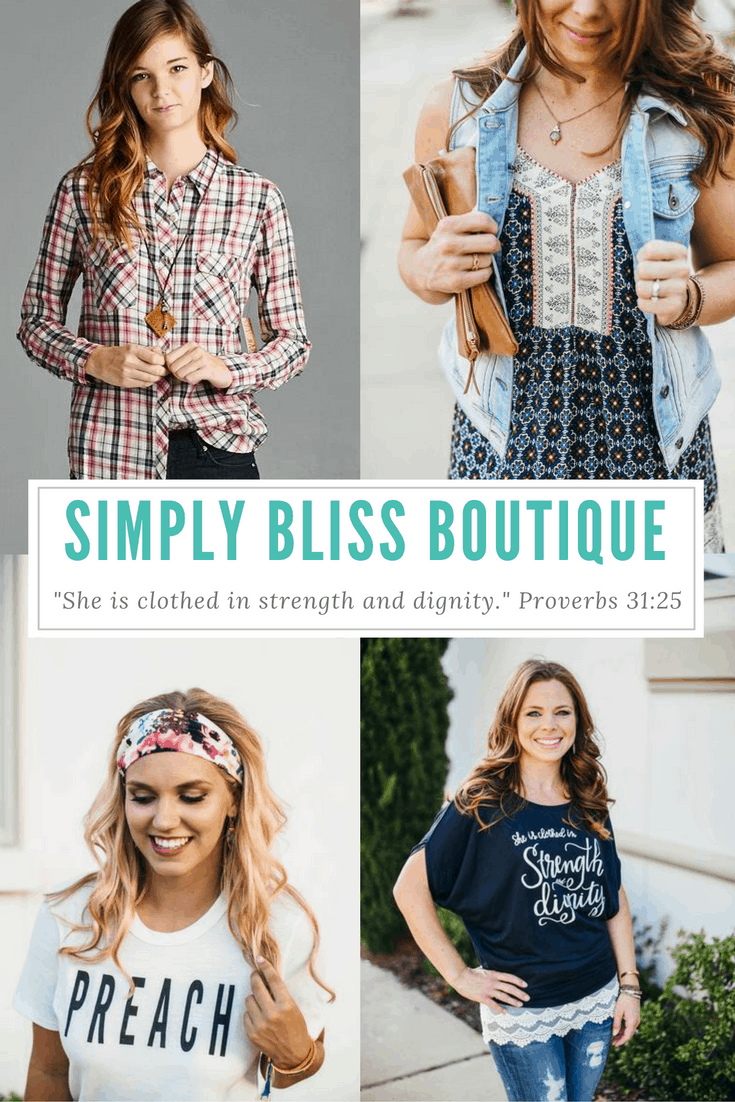 "The owners of Simply Bliss Boutique are committed to creating clothing that is modest and affordable, but their shop is about so much more than the clothes. They are all about sharing the message that women are beautiful, modesty is desirable, and faith is wearable. Their mission statement is straight out of the Bible! ""She is clothed with strength and dignity."" -Proverbs 31:25 