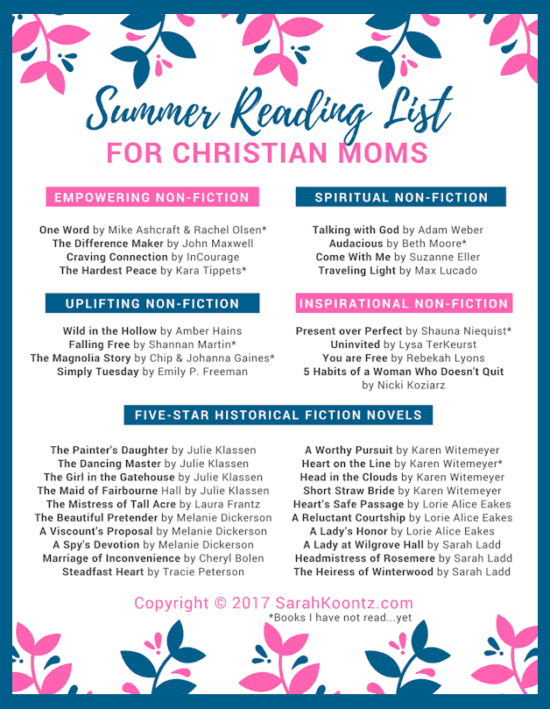 List includes 5 top Christian historical fiction authors, 10 must-read Christian Nonfiction titles, and a FREE printable Summer Reading List for Christian Women   Reading Challenge   Adult Reading List   Book Ideas for Women   Book Reviews   Books for Mom