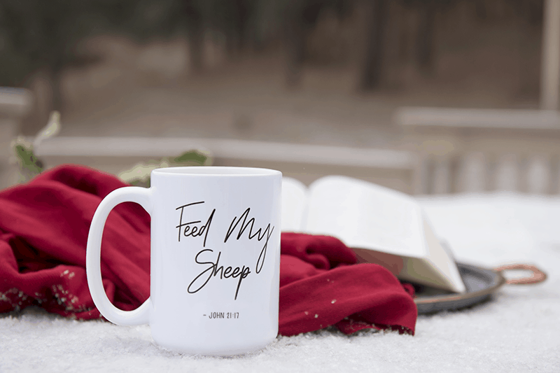 Feed My Sheep Support Team Mug on snowy table with a bible and red scarf