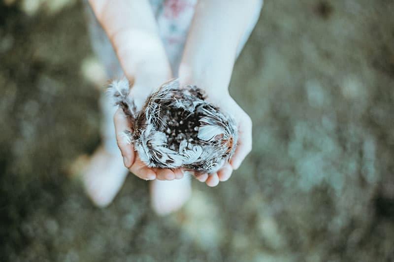 christian woman holding small bird's nest wondering if small prayers matter to god