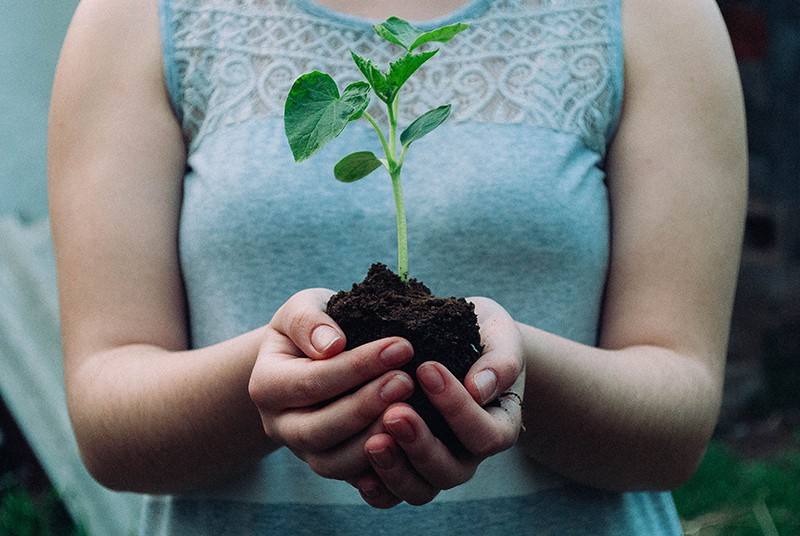christian woman holding growing plant - visual for the life-giving practice of substantial self-care