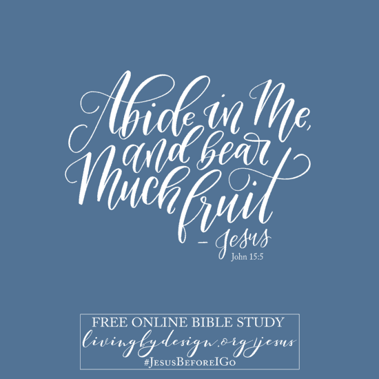 Script reads: Abide in me. John 15:5. Sign up today for #Jesusbeforeigo free online Bible study.