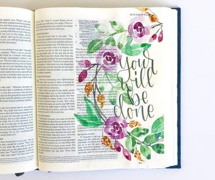Bible pages that have been creatively journaled - Bible Journaling