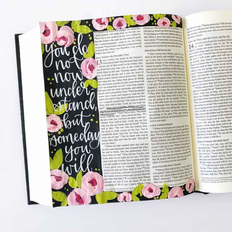 beautifully handletterd bible journaling page