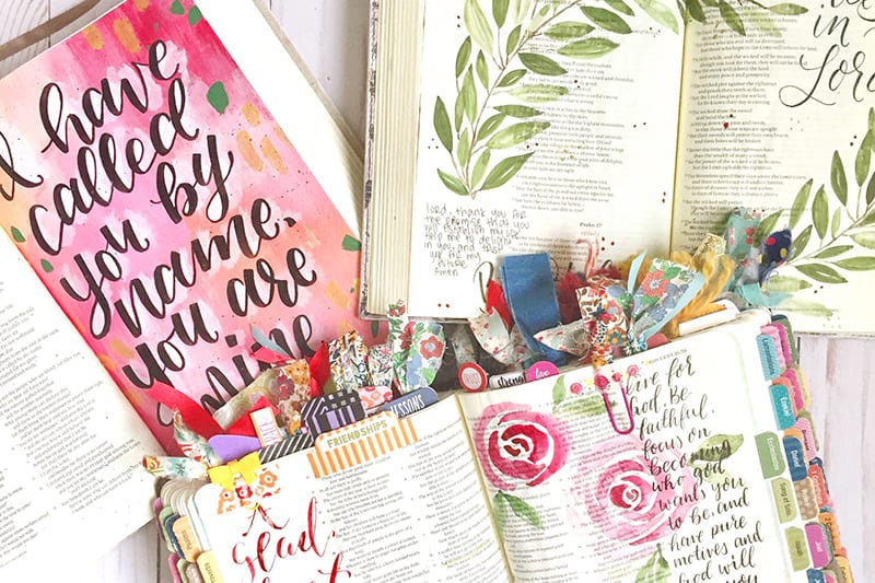 Beautifully hand painted bible journaling pages