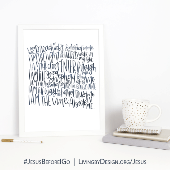 Names of Jesus scripted artwork. Free when you sign up for #Jesusbeforeigo Bible study.