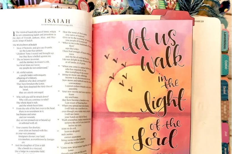 journaled bible pages open to Isaiah | free word30 challenge