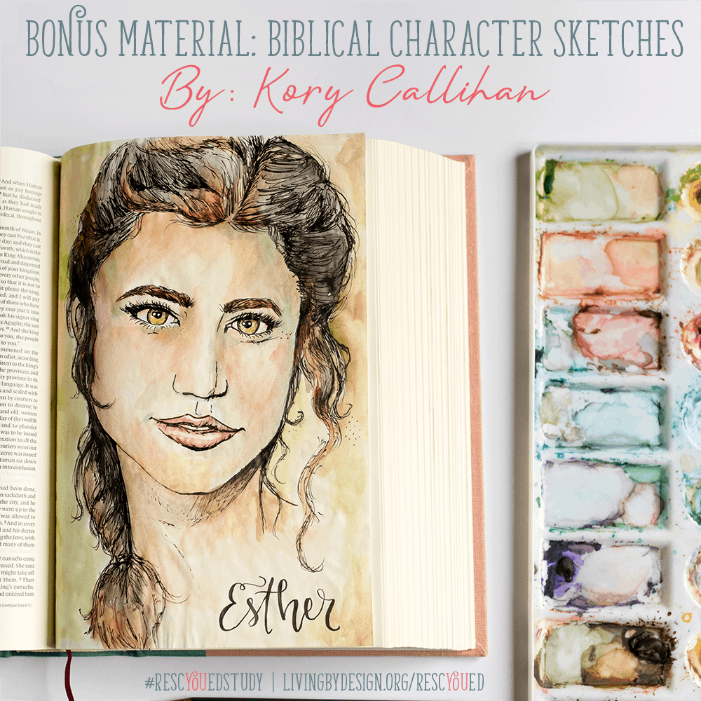 Free Biblical Character Sketches included with the RescYOUed Bible Study by Sarah Koontz at LivingbyDesign.org/rescyoued. #RescYOUedStudy