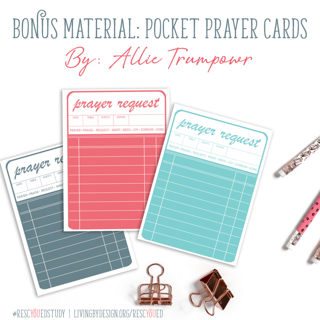 Free Pocket Prayer Request Cards included with the RescYOUed Bible Study by Sarah Koontz at LivingbyDesign.org/rescyoued. #RescYOUedStudy