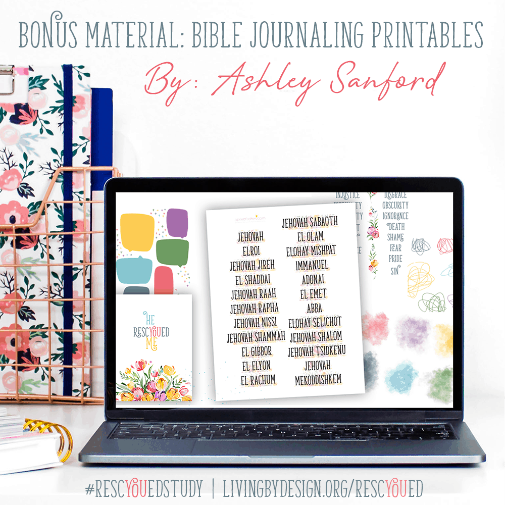 Free Bible Journaling printables included with the RescYOUed Bible Study by Sarah Koontz at LivingbyDesign.org/rescyoued. #RescYOUedStudy