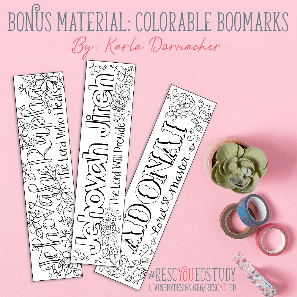 Free Colorable Bookmarks included with the RescYOUed Bible Study by Sarah Koontz at LivingbyDesign.org/rescyoued. #RescYOUedStudy