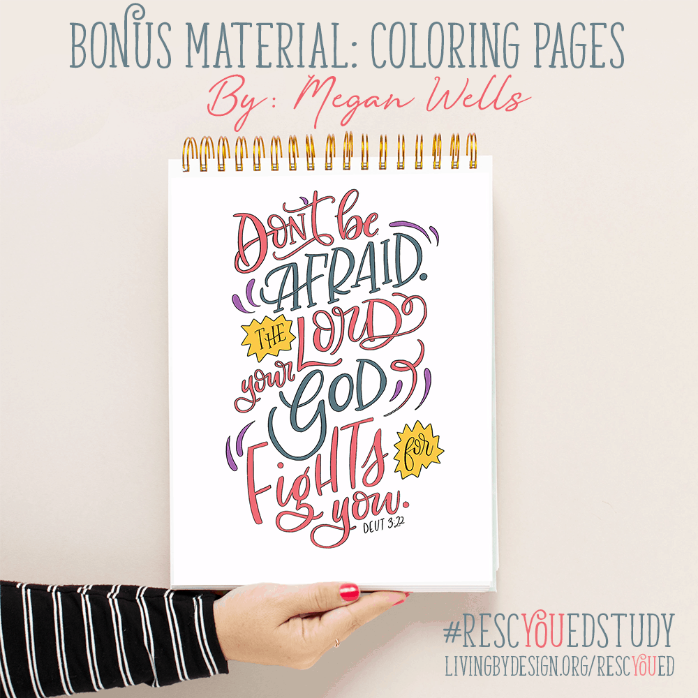 Free coloring pages included with the RescYOUed Bible Study by Sarah Koontz at LivingbyDesign.org/rescyoued. #RescYOUedStudy