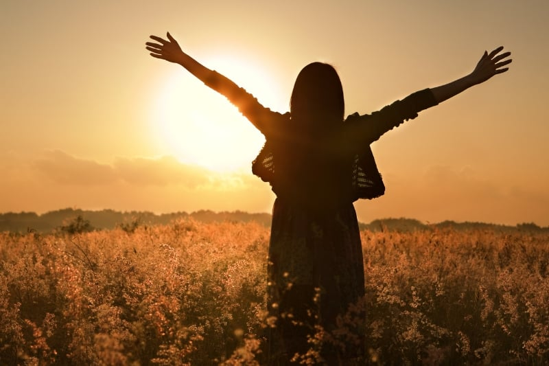 silhouette of woman in field arms outstretched | blog post on fighting comparison