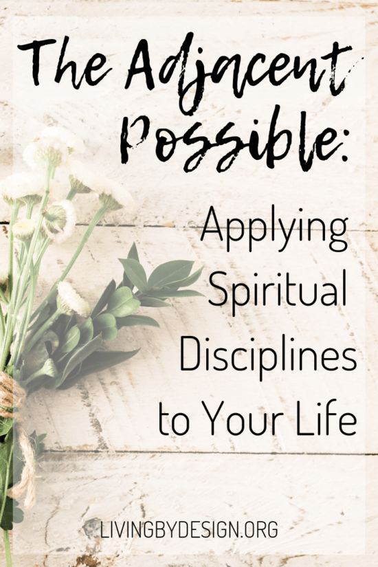 "Spiritual disciplines are not unattainable goals set aside for ""advanced"" Christians. However, we may acquire these habits of holiness more readily by patiently trusting for grace to make small steps. Learn how the concept of 'The Adjacent Possible' can change the way you approach adding spiritual disciplines and healthful practices to your life."