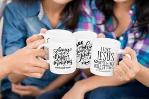 group of friends showing off their mugs while talking | Mug on a Mission Fundraiser - Living by Design Ministries