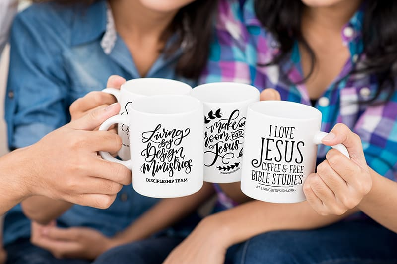 close up of our inspirational mug designs | Pay it Forward with our Mug on a Mission Fundraiser - Living by Design Ministries