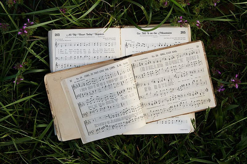 Old hymnal lying open in the grass | How to Praise & Pray Like David, A Free 6-Week Bible Study