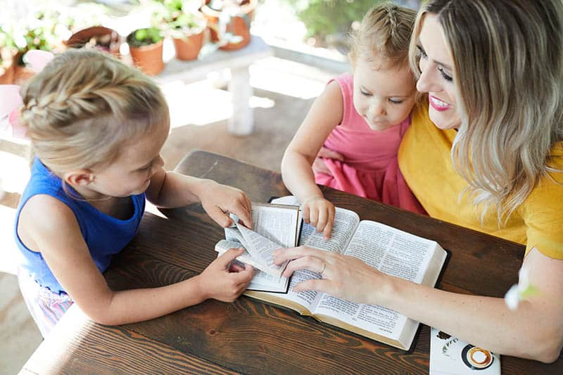 Christian woman teaching her children about the Bible | What do you believe about the Bible?
