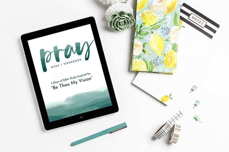 flatlay of the week 1 workbook  | Free hymn-inspired Bible study
