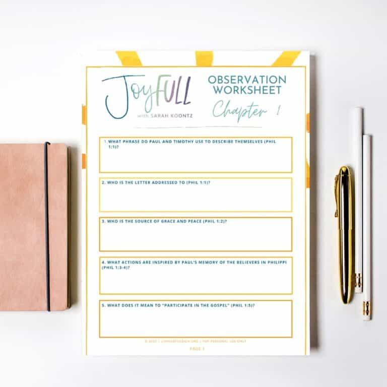 Free JoyFULL Bible Study Observation Worksheets
