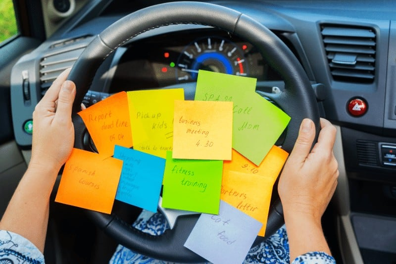 dashboard full of sticky notes to do list | 4 tips to help busy moms be more like Jesus