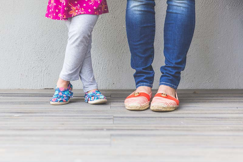 Christian mom with daughter, cute shoe shot | A Realistic Family Devotional Strategy