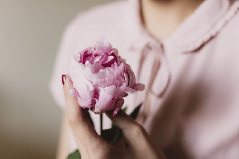 woman holding a pink peony   submit to God's Sovereignty