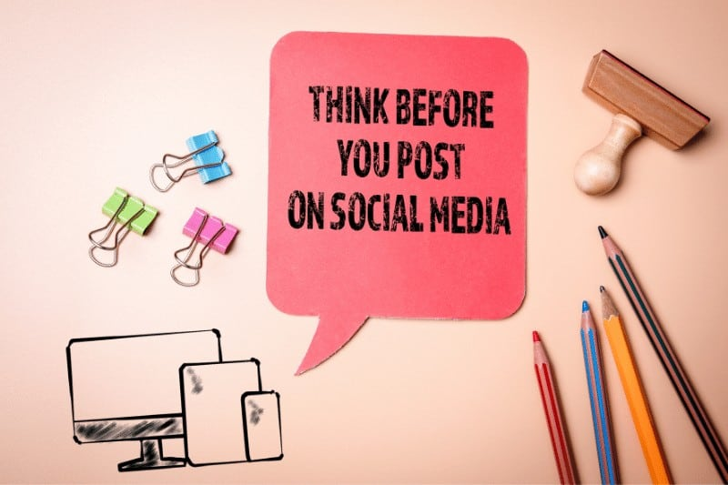 graphic that says think before you post on social media | 5 Ways to Reflect Christ's Character in Contentious Conversations